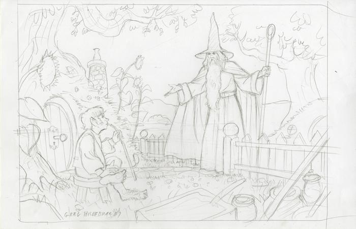 Gandalf Visits Bilbo - Final Sketch