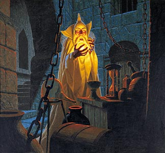 Tolkien Calendar July 1978 Saruman and the Palantir, Brothers Hildebrandt