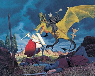 Tolkien Calendar Nov 1976 Eowyn and the Nazgul, Brothers Hildebrandt