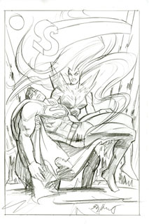 Superman Last Goddess of Krypton CVR sketch, Greg Hildebrandt