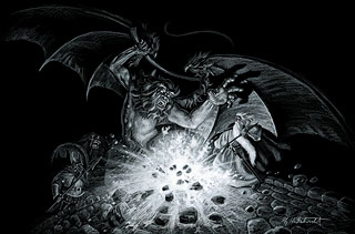 Gandalf Versus the Balrog - Black Board, Greg Hildebrandt