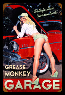Grease Monkey - Vintage Tin Sign, Greg Hildebrandt
