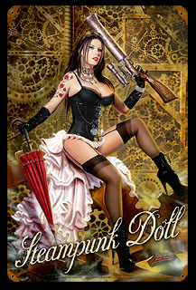 Steampunk Doll - Vintage Tin Sign, Lorenzo Sperlonga