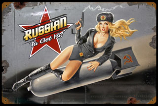 Russian Ta Get Ya - Vintage Tin Sign - Large, Greg Hildebrandt