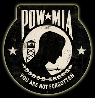 POW MIA HA040- Vintage Tin Sign - Shaped, PTS