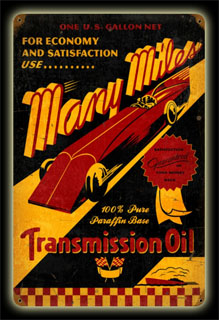 Many Miles Oil PTS172- Vintage Tin Sign, PTS
