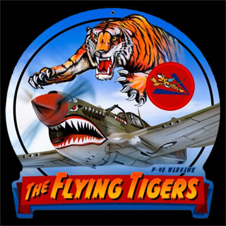 Flying Tigers HM010- Vintage Tin Sign - Shaped, PTS