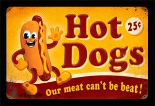 Hot Dogs PTS020- Vintage Tin Sign, PTS
