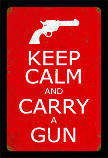 Keep Calm and Carry a Gun PTS016- Vintage Tin Sign, PTS
