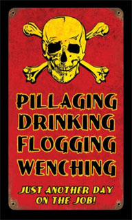 Pillaging Drinking Pirates V191- Vintage Tin Sign, PTS