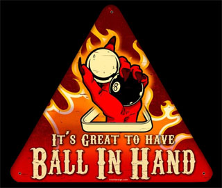 Ball in Hand KDN004- Vintage Tin Sign - Shaped, PTS