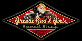Grease Gas Girls DMD009- Vintage Tin Sign - Shaped, PTS