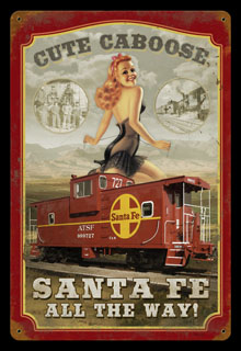 Sante Fe Caboose HA018- Vintage Tin Sign, PTS