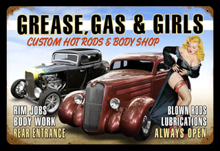 Grease Gas Girls V310- Vintage Tin Sign, PTS