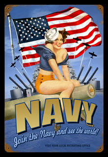 Navy Pin Up V523- Vintage Tin Sign, PTS