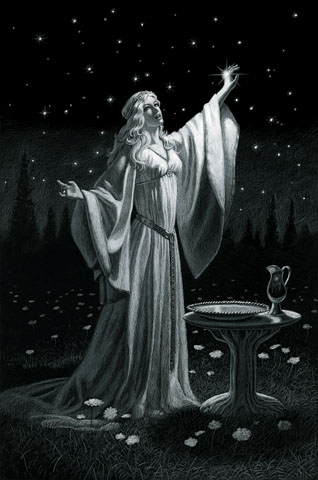 The Ring of Galadriel Black Board - Giclee, Greg Hildebrandt