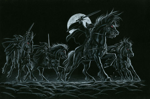 The Black Riders Black Board - Giclee, Greg Hildebrandt