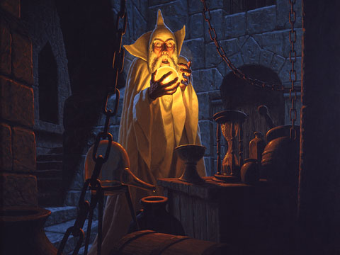 Saruman and the Palantir - Giclee, Brothers Hildebrandt