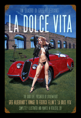 La Dolce Vita - Vintage Tin Sign - Large, Greg Hildebrandt