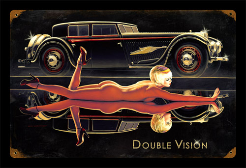Double Vision - Vintage Tin Sign - Large, Greg Hildebrandt