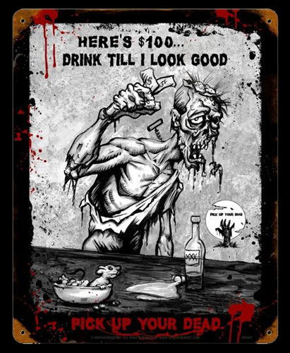 Zombie Look Good - Vintage Tin Sign, Mark Romanoski
