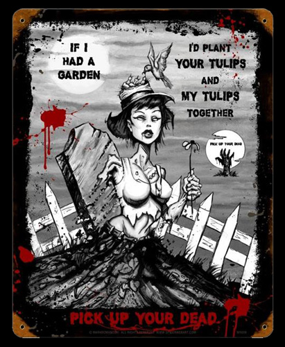 Zombie Tulips - Vintage Tin Sign, Mark Romanoski