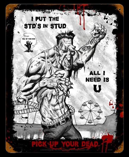Zombie Stud - Vintage Tin Sign, Mark Romanoski