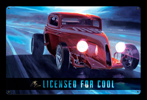 Licensed for Cool - Vintage Tin Sign - Large, Tom Fritz