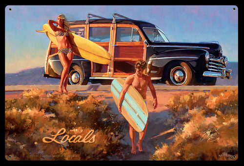 Locals - Vintage Tin Sign, Tom Fritz