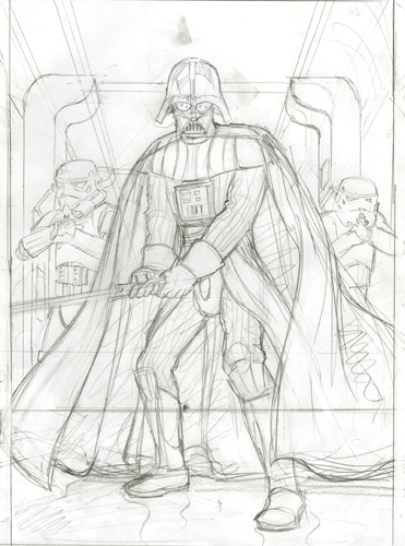 Darth Vader Attacks - Commission Sketch, Greg Hildebrandt