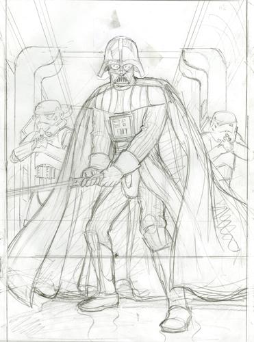 Darth Vader Attacks  Commission Sketch  Star Wars  Spiderwebart