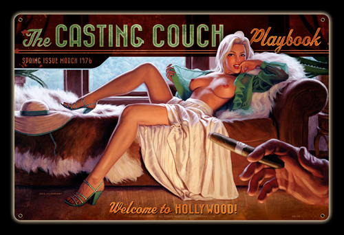 Casting Couch - Vintage Tin Sign, Greg Hildebrandt