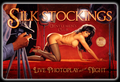 Silk Stockings - Vintage Tin Sign, Greg Hildebrandt