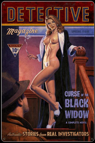 Black Widow - Vintage Tin Sign - Large, Greg Hildebrandt