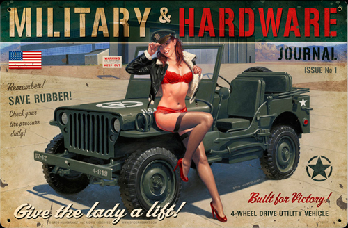 Give a Lady a Lift? - Tin Sign - Large, Greg Hildebrandt