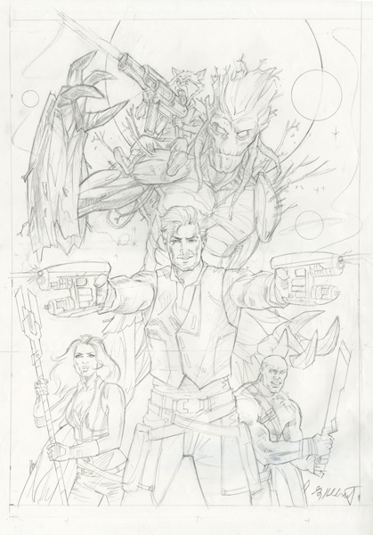 Guardians of the Galaxy - Cover - Final Sketch, Greg Hildebrandt