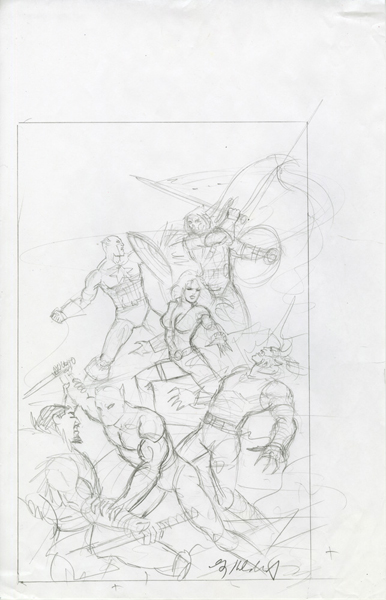 Secret Wars - Sketch #5, Greg Hildebrandt