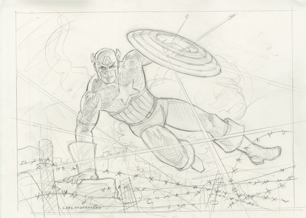 Captain America - Into Battle - Sketch, Greg Hildebrandt