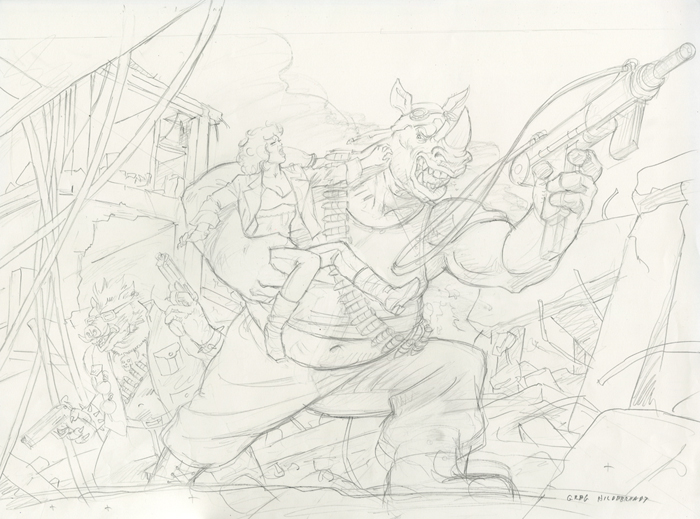 Bebop and Rocksteady-Sketch #3, Greg Hildebrandt
