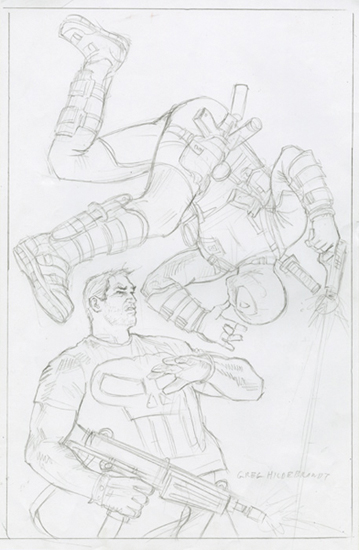 Deadpool v Punisher - Final Sketch, Greg Hildebrandt