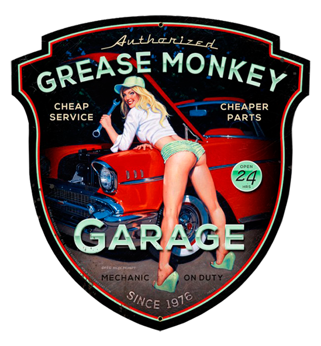 Grease Monkey - Vintage Tin Sign - Shaped XL, Greg Hildebrandt