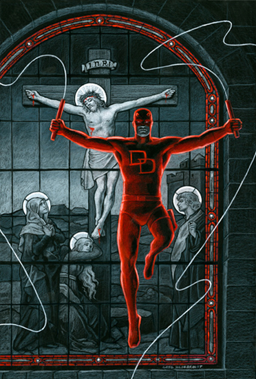 Daredevil Crucifixion - Black Board, Greg Hildebrandt