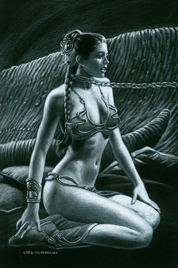 Princess Leia Slave - Black Board, Greg Hildebrandt