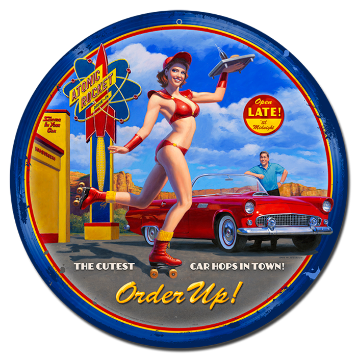 Car-Hop - Vintage Tin Sign  Round- Large , Greg Hildebrandt