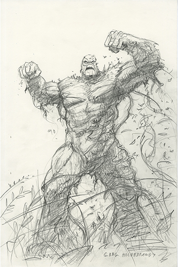 Swamp Thing Sketch 1, Greg Hildebrandt