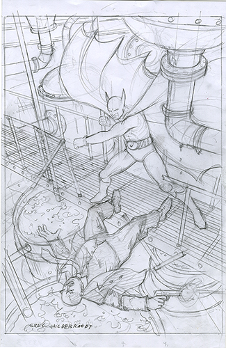 Batman Vs Stryker Preliminary Sketch, Greg Hildebrandt