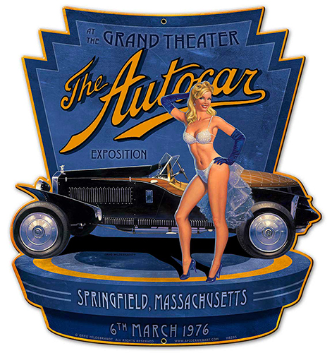The Autocar Exposition - Vintage Tin Sign - Shaped, Greg Hildebrandt
