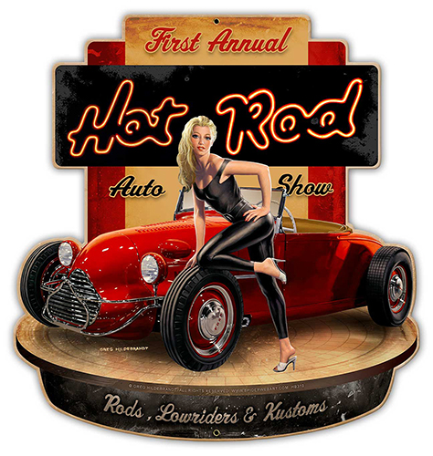 Hot Rod - Vintage Tin Sign - X-Large , Greg Hildebrandt