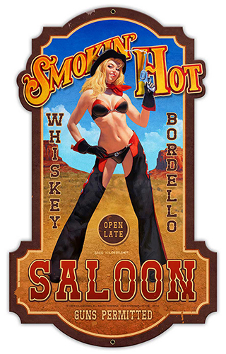 Smokin Hot - Vintage Tin Sign -X-Large, Greg Hildebrandt